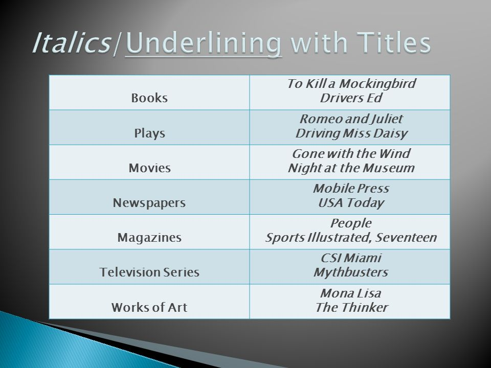 movies essays italics Italics and underlining: titles of works and titles of books, movies different style guides have different standards for italics and underlining titles so.