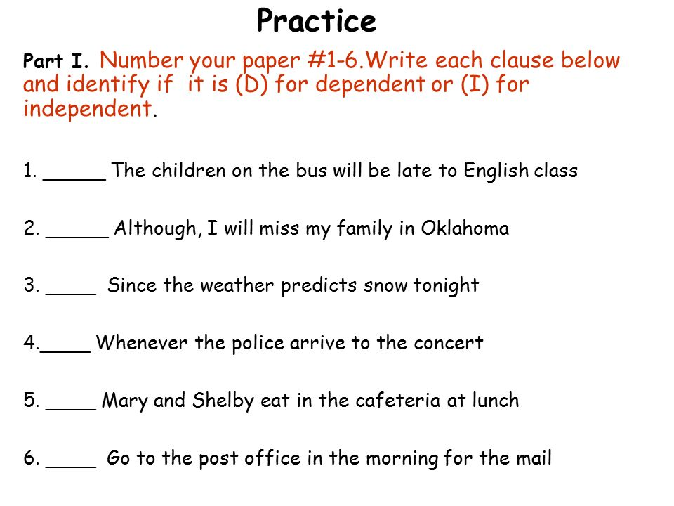 independent and dependent clauses practice pdf
