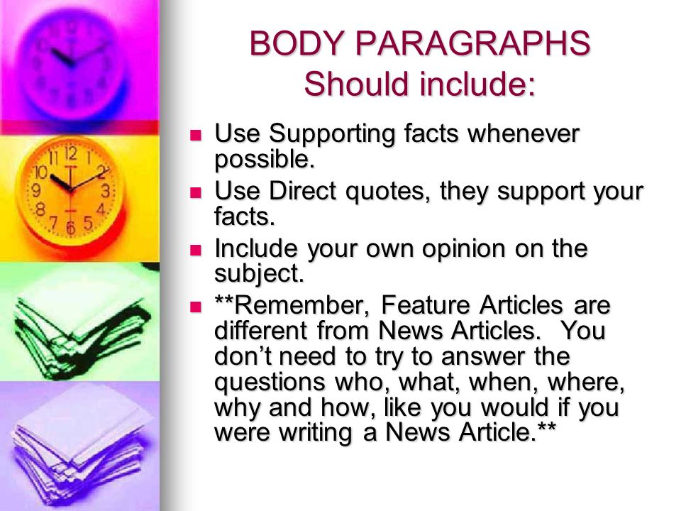 how to write a body paragraph for a news articke