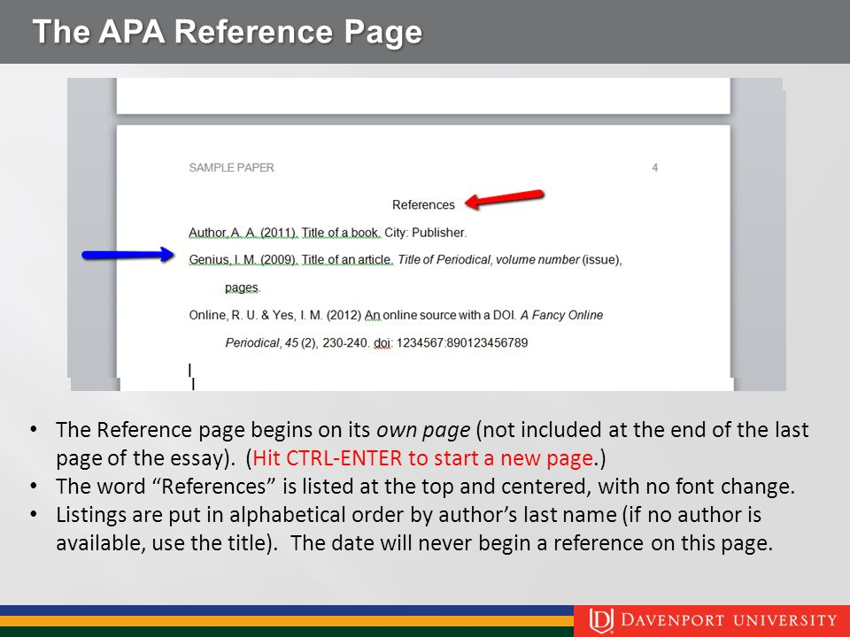 student guide to apa th edition ppt video online the apa reference page