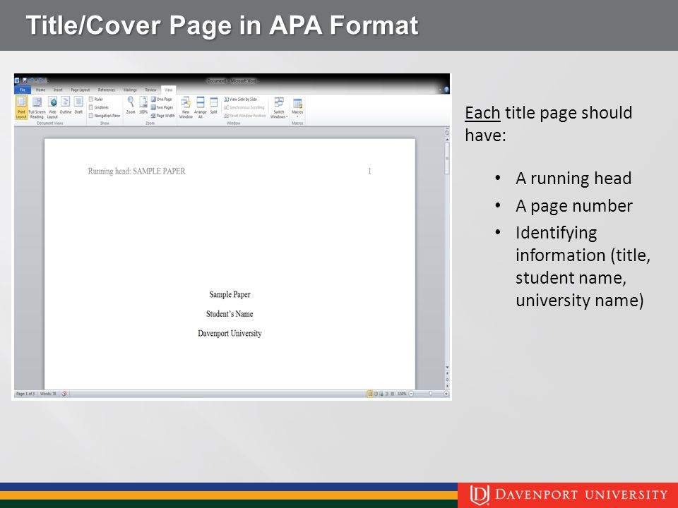 apa format for a cover page