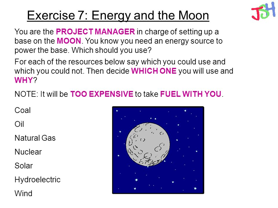 Exercise 7: Energy and the Moon