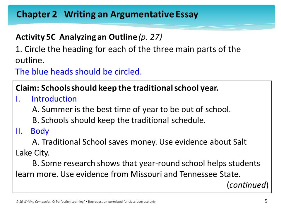 Components of an argumentative essay