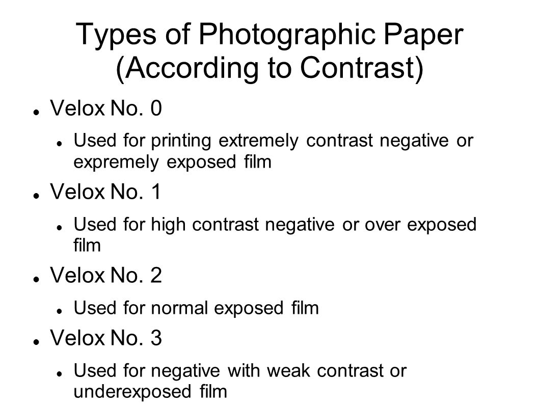 Sensitized material refers to the film and photographic Types of contrast