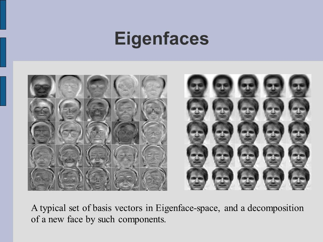Eigenfaces A typical set of basis vectors in Eigenface-space, and a decomposition.