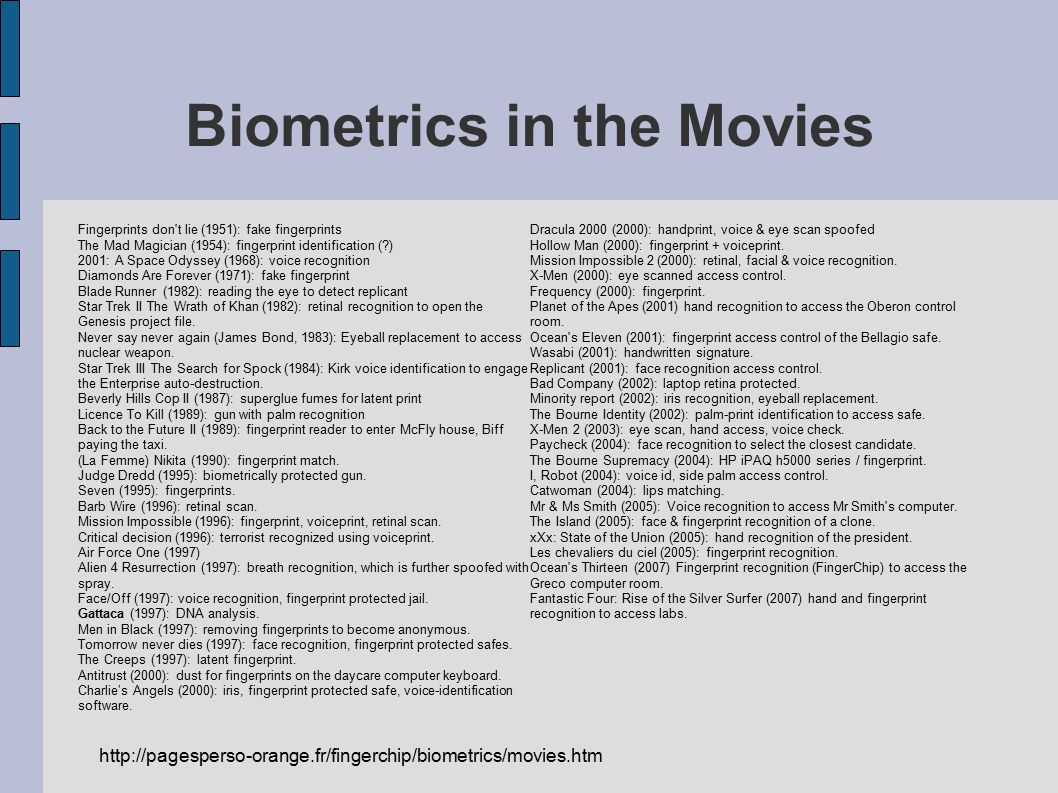 Biometrics in the Movies