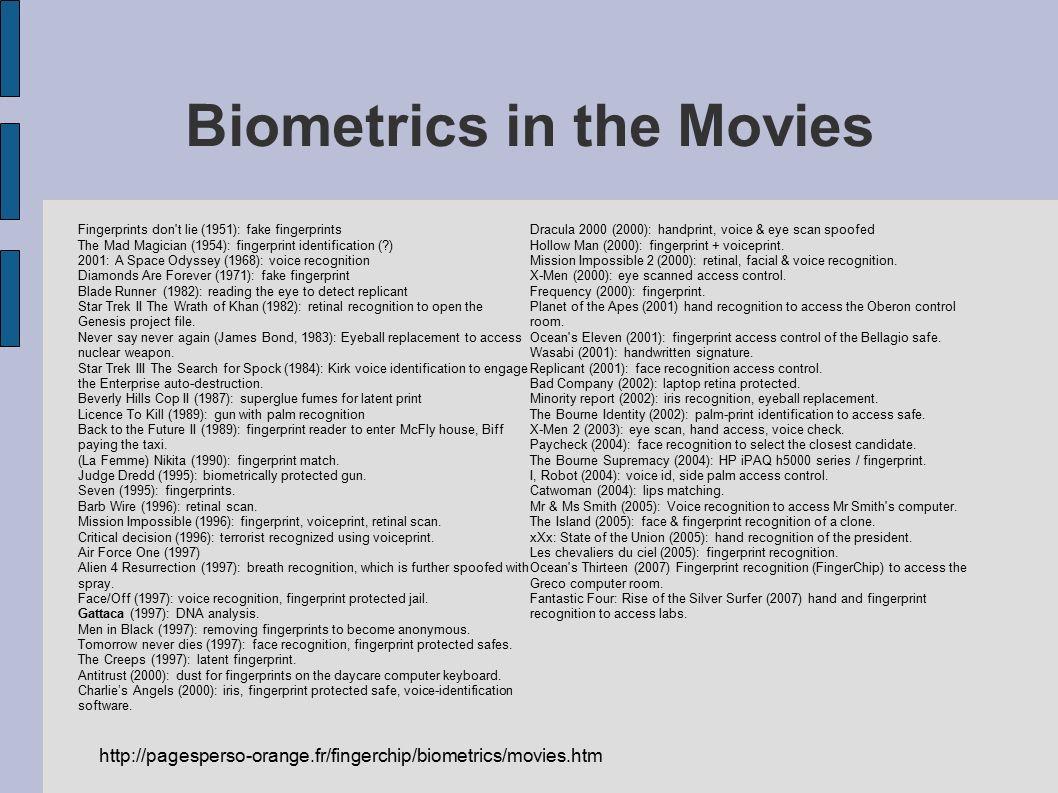 Biometrics in the Movies