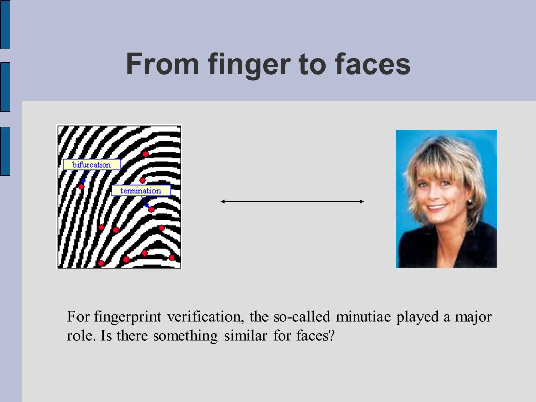 From finger to faces For fingerprint verification, the so-called minutiae played a major.