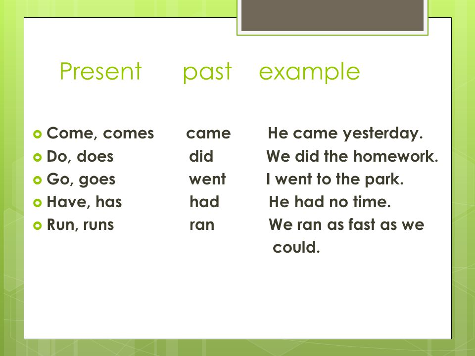 how it came to past We can use the past perfect tense (had + past participle) to do this  you came  at 9:30 am my dear, you were already late the office was closed , we normally.