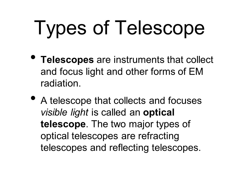the three major types of optical telescope