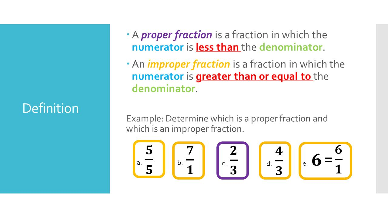 A Proper Fraction Is A Fraction In Which The Numerator Is Less Than The  Denominator.