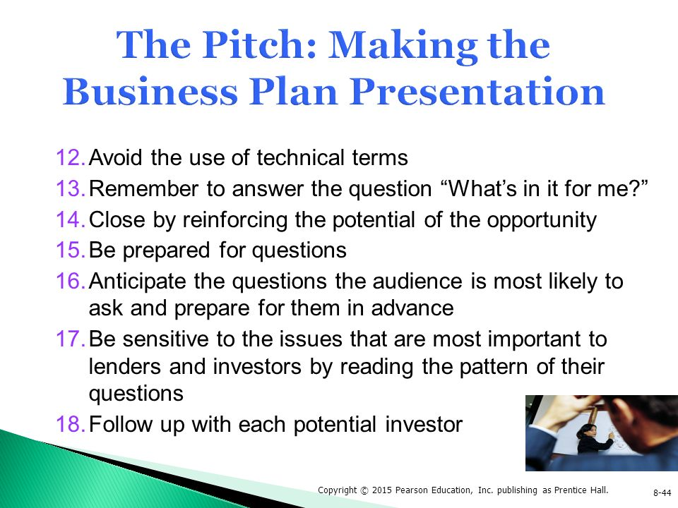 Business plan and presentation for potential investors