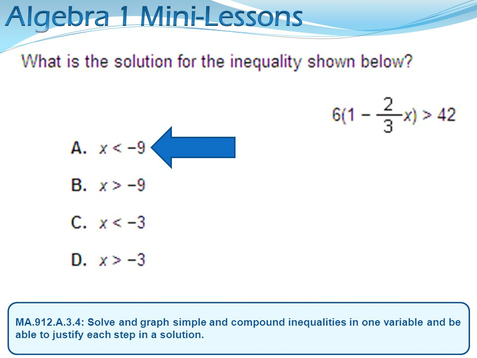 Algebra 1 Mini-Lessons MA.912.A.3.4: Solve and graph simple and compound inequalities in one variable and be able to justify each step in a solution.