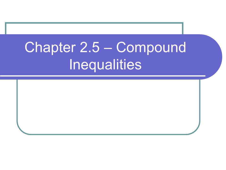 Chapter 2.5 – Compound Inequalities