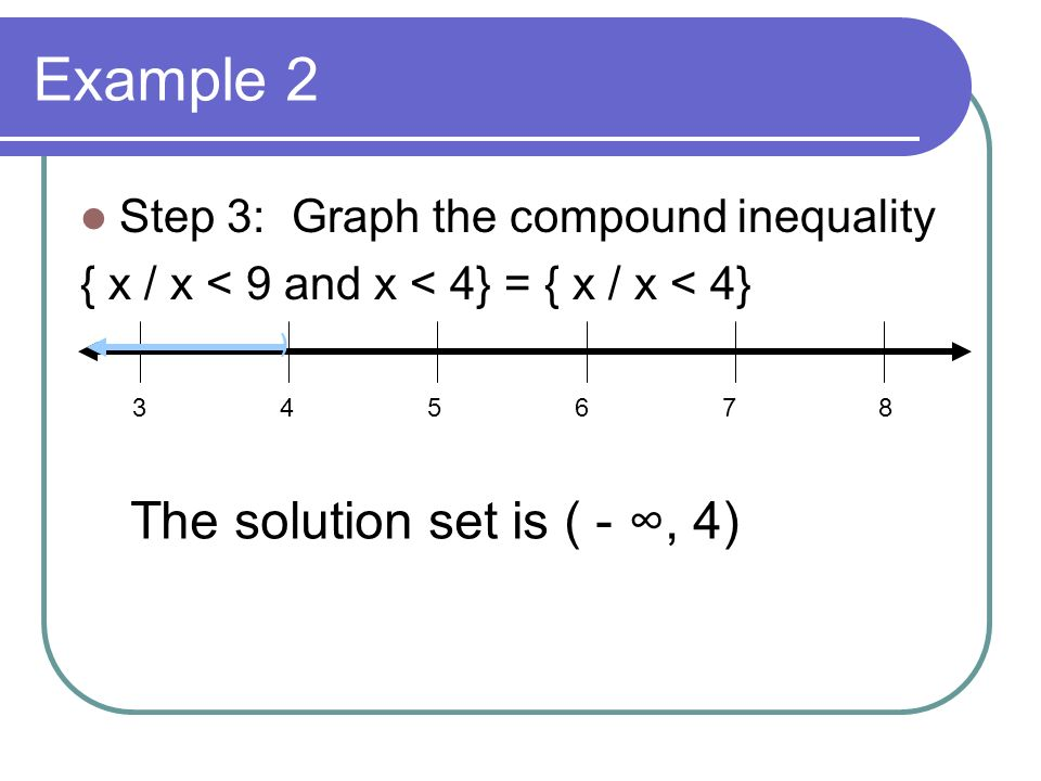 Example 2 The solution set is ( - ∞, 4)