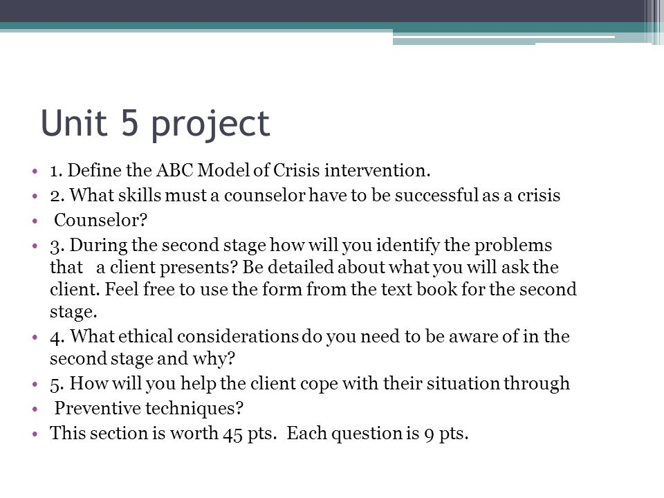 essay abc model crisis intervention 1 define the abc model of crisis intervention 2 reflecting back on stage a of the abc model of crisis intervention, what skills must a crisis counselor have to be successful developing trust and rapport with the client.