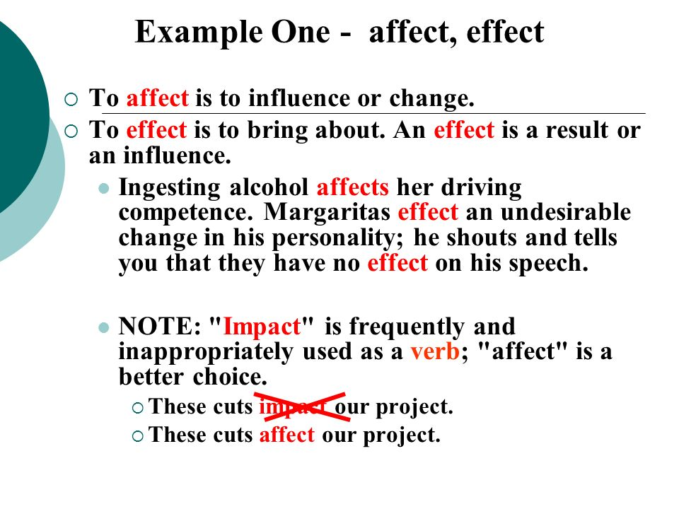 Example One - affect, effect