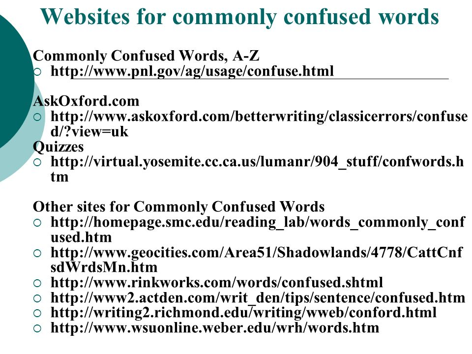 Websites for commonly confused words