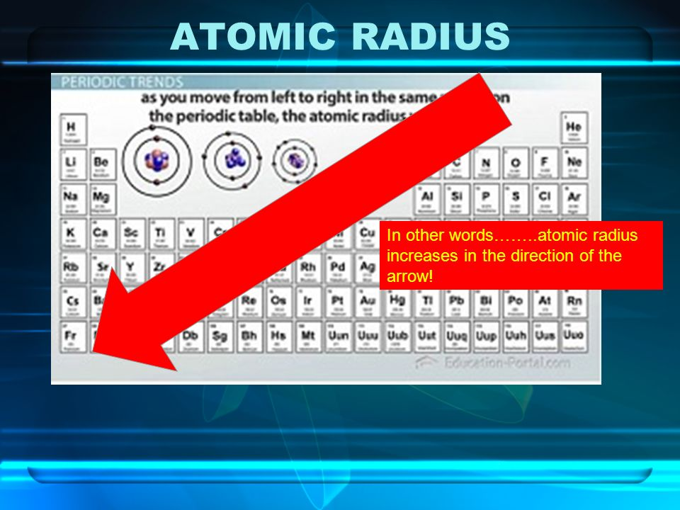 9 atomic radius in other wordsatomic radius increases in the direction of the arrow - Periodic Table Left To Right Atomic Radius