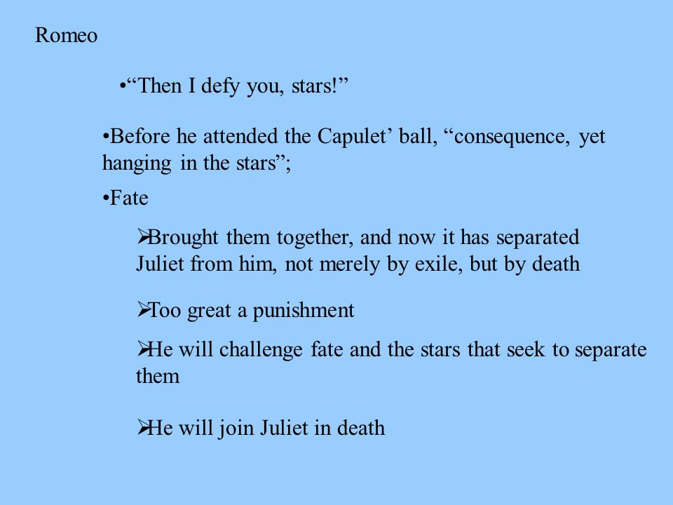 then i defy you stars v i 24 romeo and juliet fate Romeo & juliet: act v study questions  then i defy you, stars  s3-relate the events that lead to romeo and juliet's death as they are told by friar.