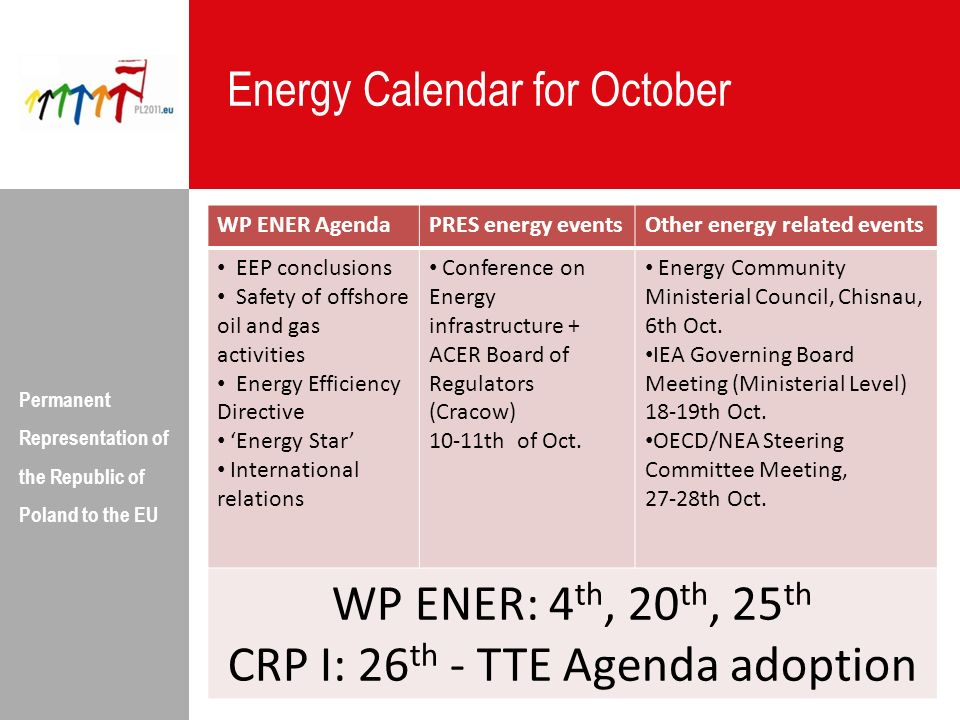 CRP I: 26th - TTE Agenda adoption