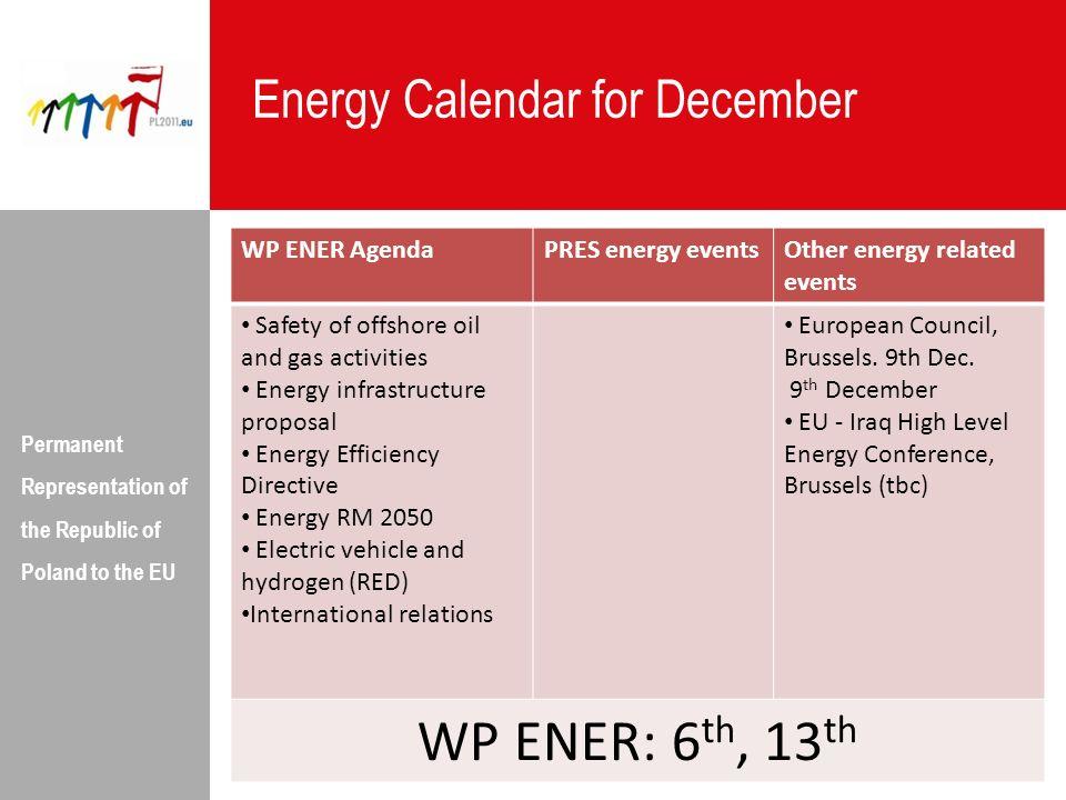 WP ENER: 6th, 13th Energy Calendar for December WP ENER Agenda