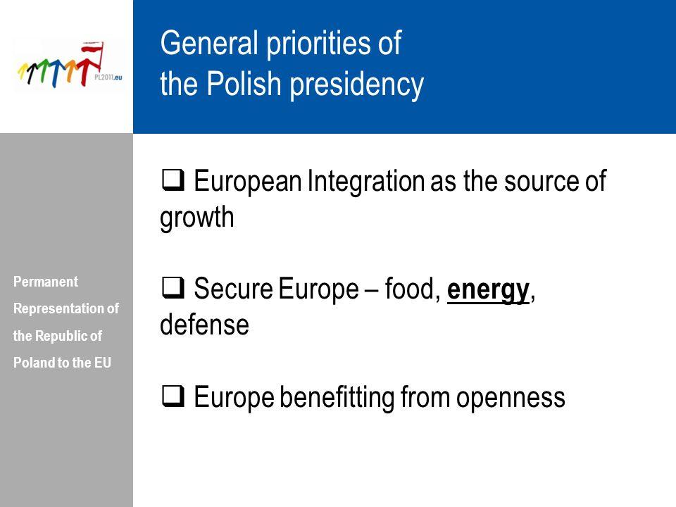 General priorities of the Polish presidency