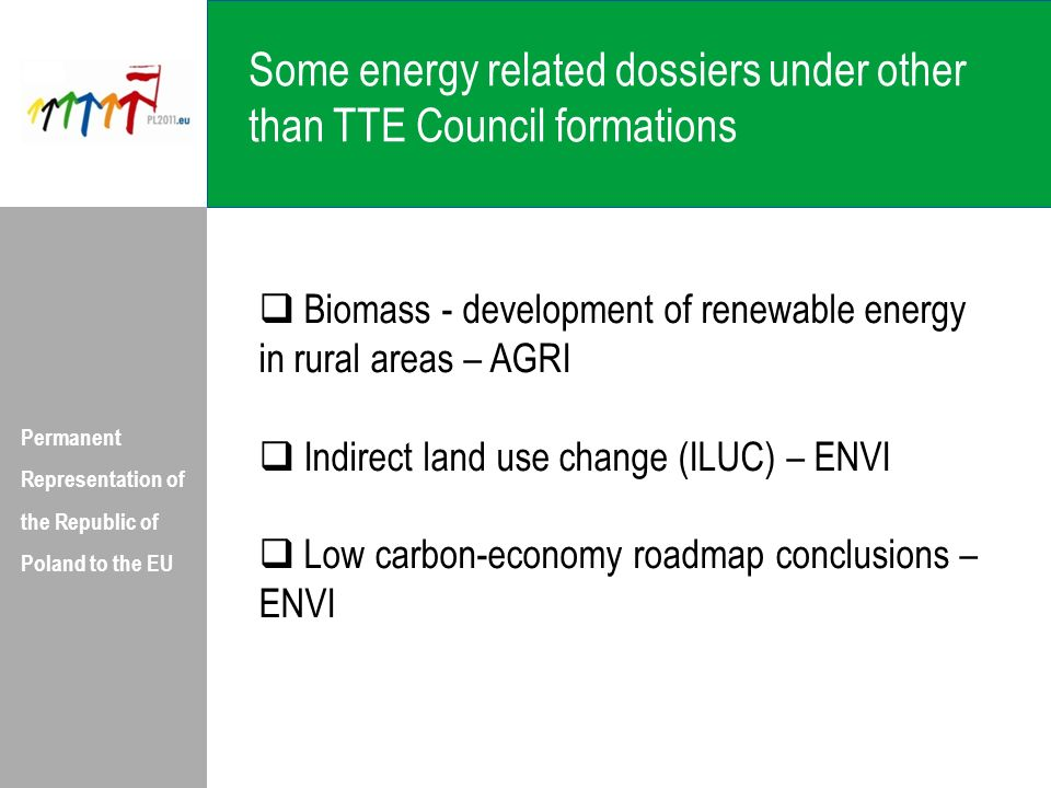 Some energy related dossiers under other than TTE Council formations