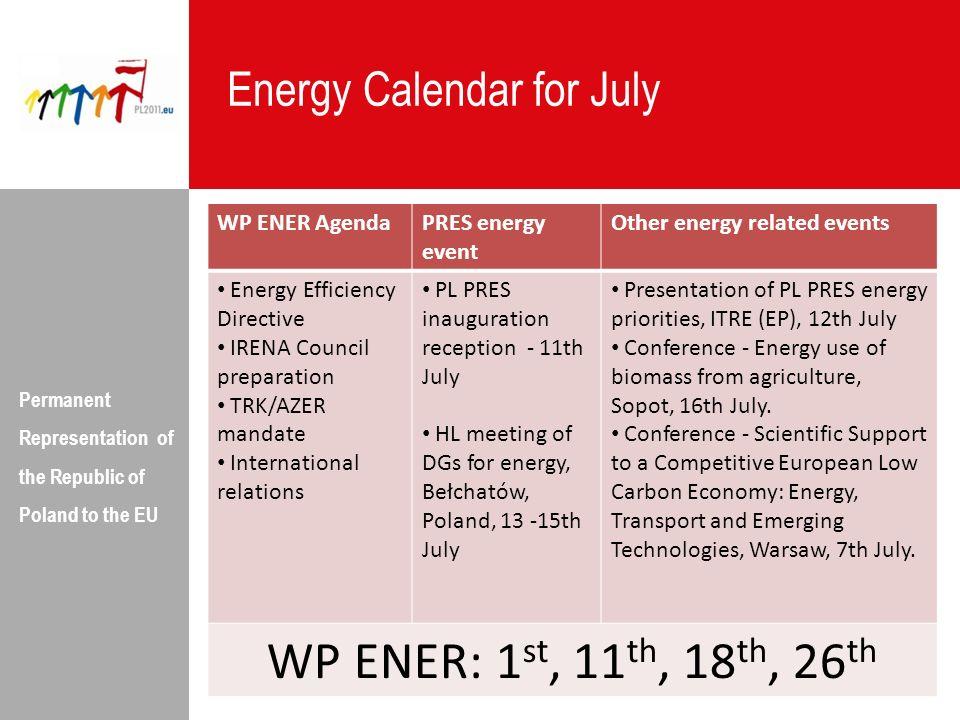 WP ENER: 1st, 11th, 18th, 26th Energy Calendar for July WP ENER Agenda