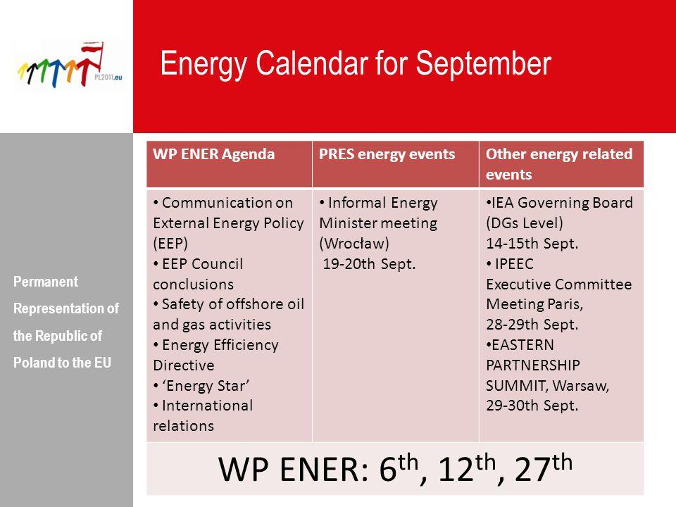 WP ENER: 6th, 12th, 27th Energy Calendar for September WP ENER Agenda