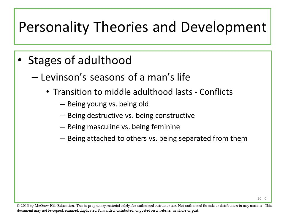 levinsons adult stage Abstract two hypotheses derived from daniel levinson's theory of adult male development were tested: (1) there is greater variability in work attitudes during transitional compared to stable developmental periods (2) the greatest variability occurs during the mid-life transition.