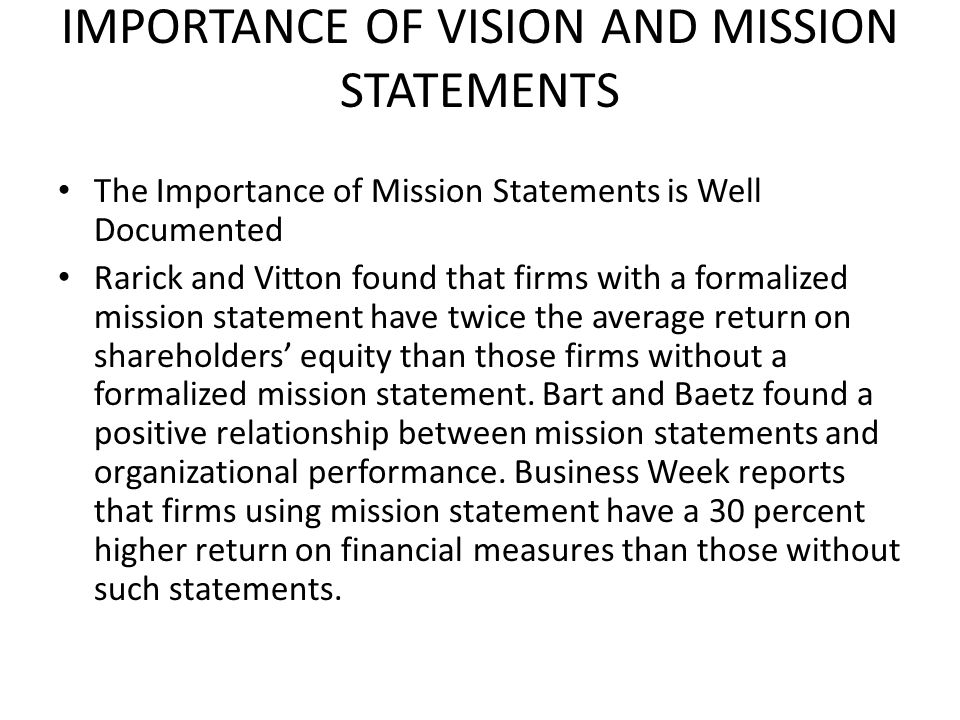 Delightful IMPORTANCE OF VISION AND MISSION STATEMENTS