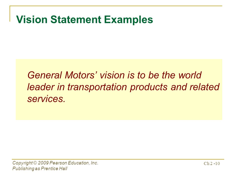 General motors vision statement for Toyota motor corporation mission statement