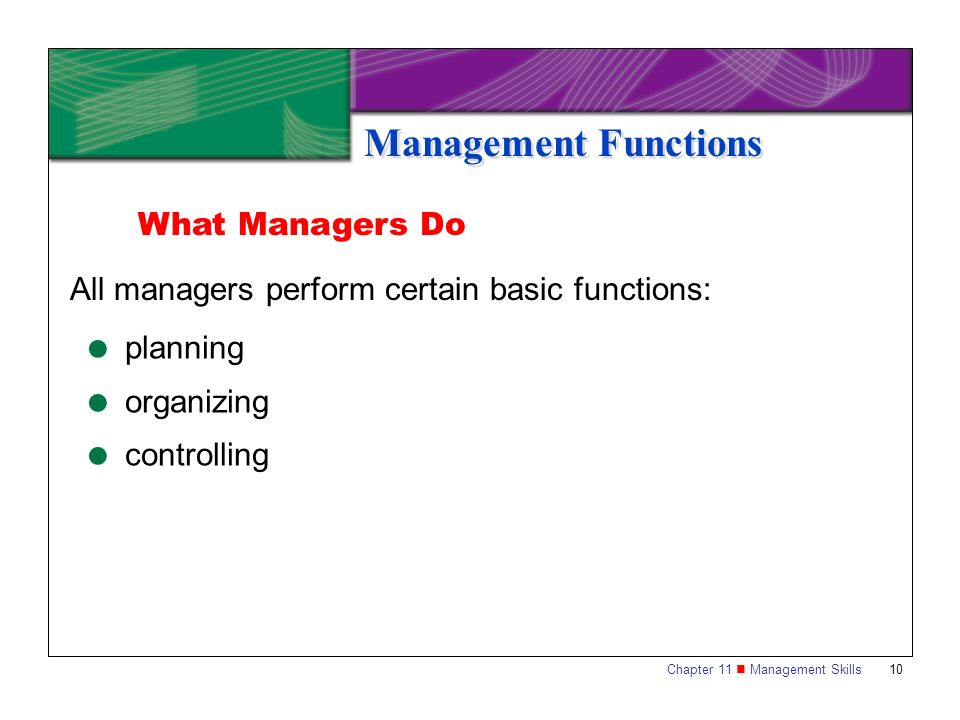 Management Functions What Managers Do