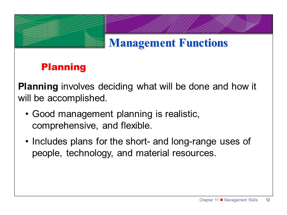 planning functions of management Functions of management koontz and o'donnel explained five functions of management they are planning, organizing, staffing, directing and controlling.