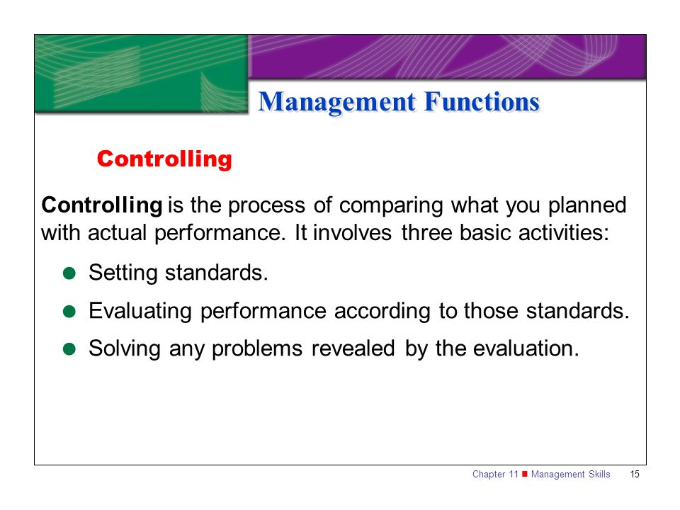 Management Functions Controlling