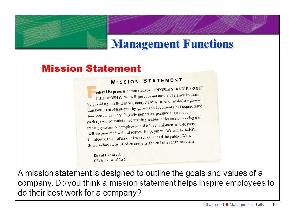 F Management Functions Mission Statement