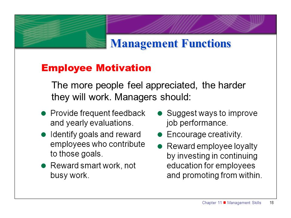 Management Functions Employee Motivation
