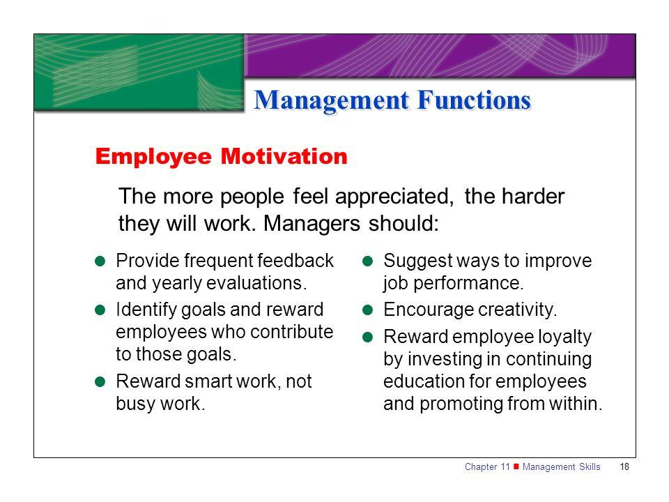 Management Functions Employee Motivation