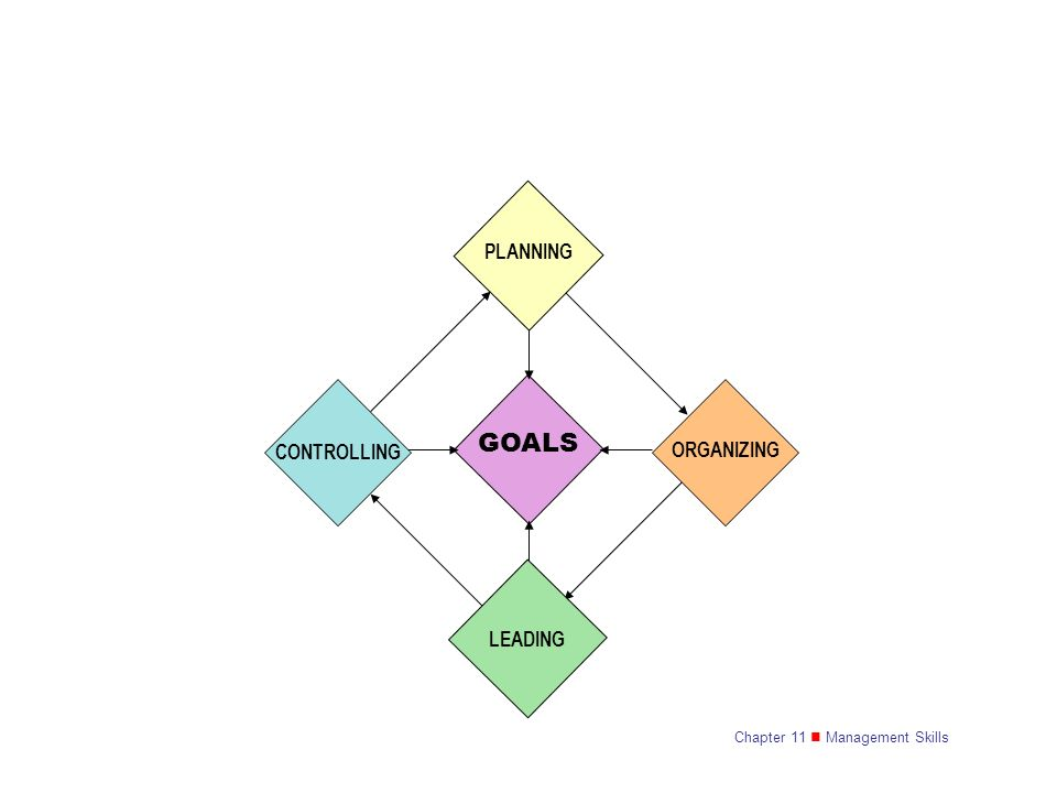 CONTROLLING PLANNING GOALS LEADING ORGANIZING