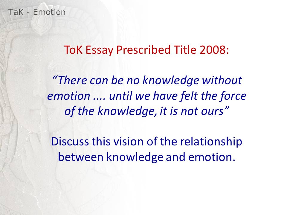 tok prescribed titles Are there key words of the theory of knowledge course in the title -- words  in  importance by being given double knowledge implied by the prescribed title is at .