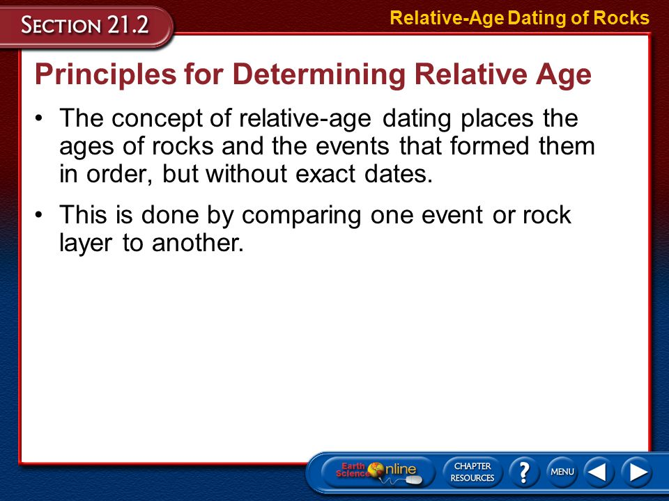 Relative-age Dating Of Answers 21.2 Section Rocks