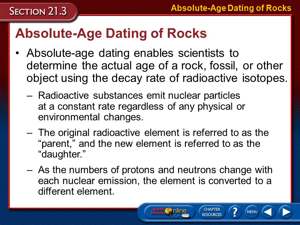 How to determine the absolute age using radioactive dating