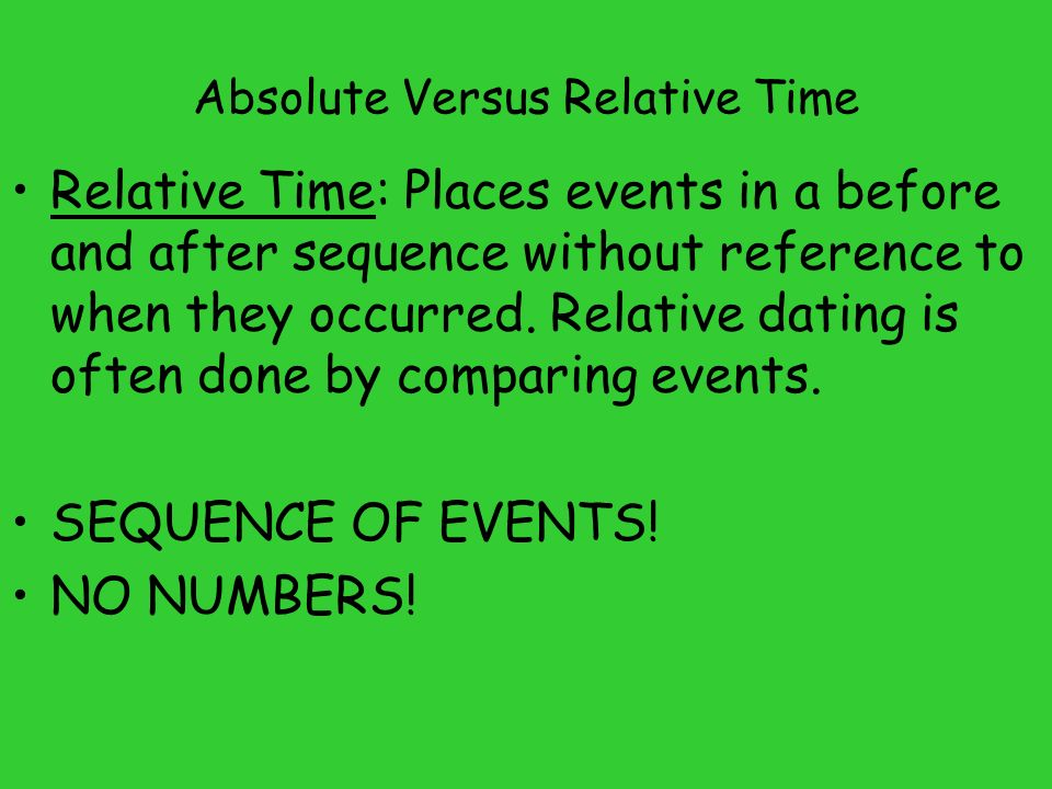 what is the basic difference between relative and absolute dating quizlet