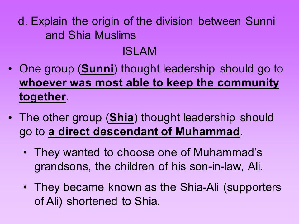 sunnie and shia divide essay  distinction between the two main branches of islam, sunni and shia  the  conflict years are less inclined to view shias as fellow muslims.