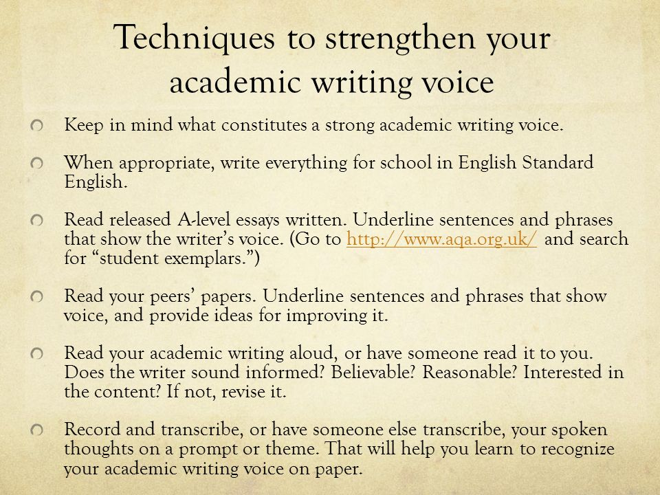 how to have voice in academic writing ppt video online  techniques to strengthen your academic writing voice