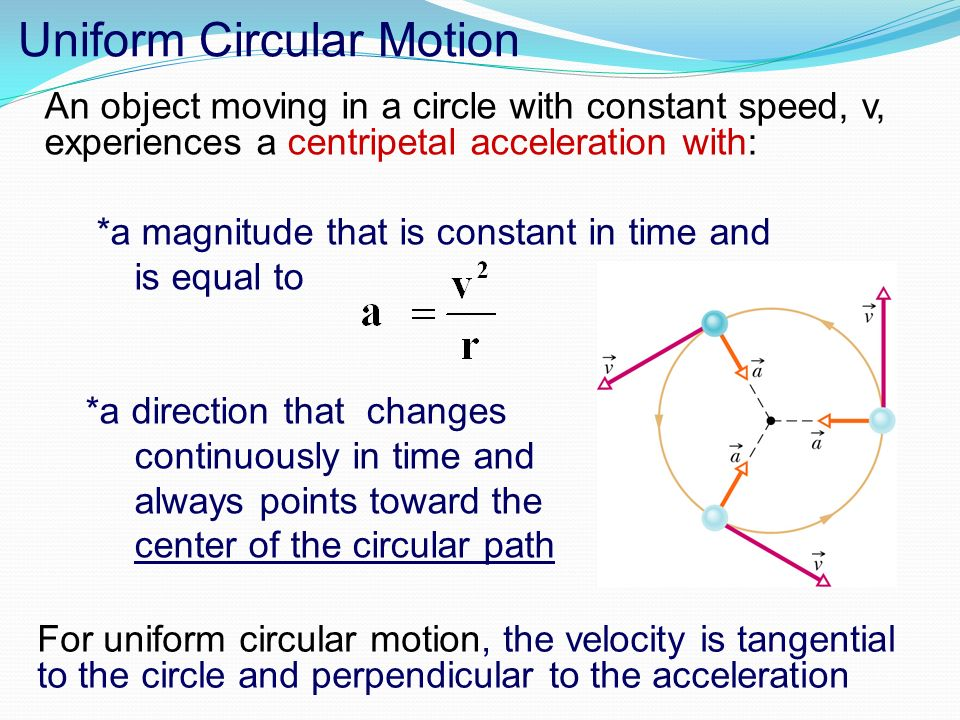 circular motion acceleration and velocity relationship