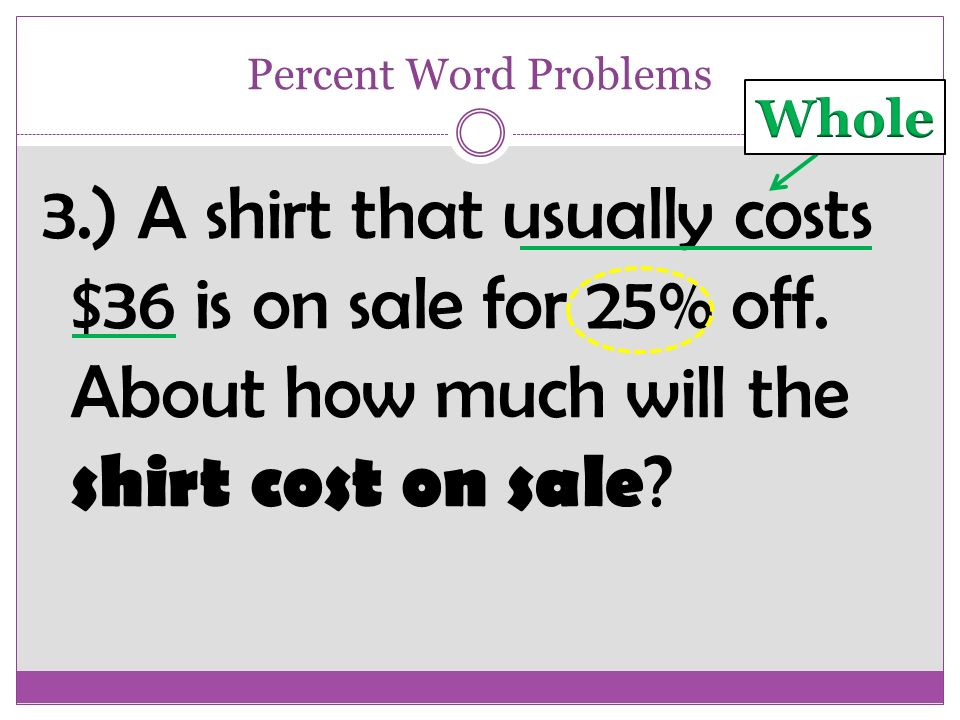Solve Percent Word Problems