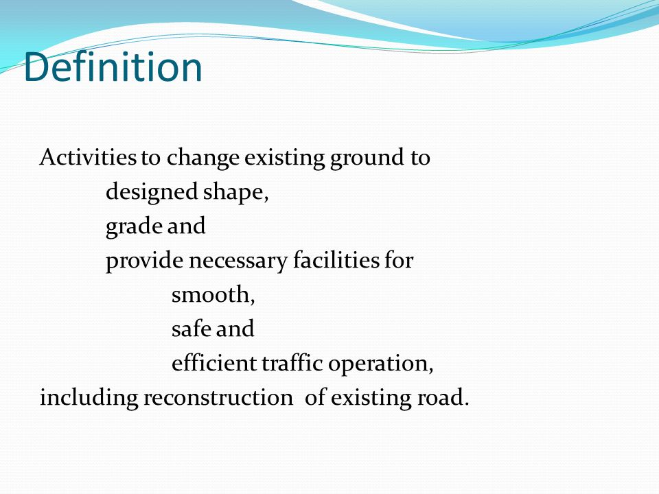 Road construction technology ppt download for Definition construction