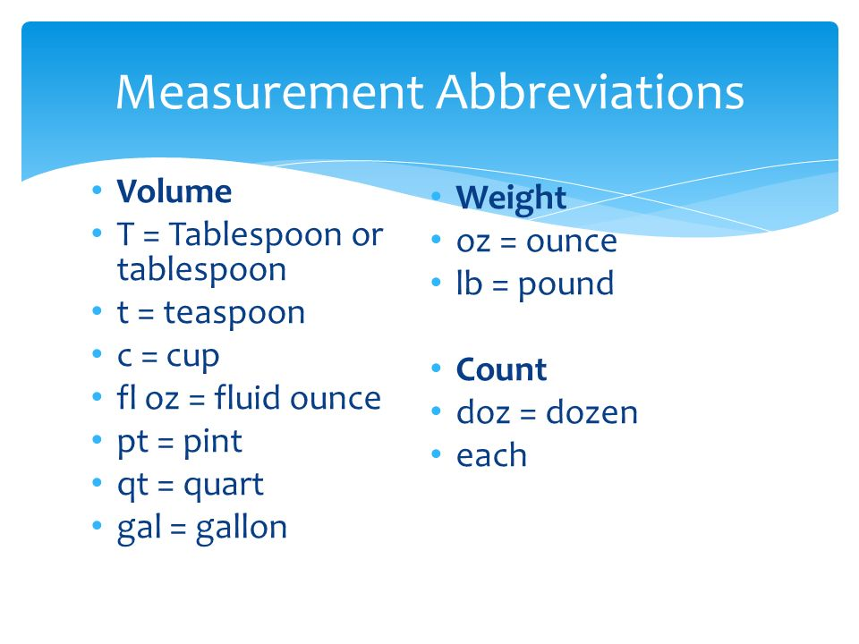 Measurement abbreviations ppt video online download for 1 table spoon oz